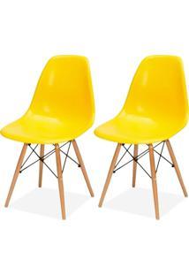 Kit 02 Cadeiras Decorativas Lyam Decor Eiffel Charles Amarelo.