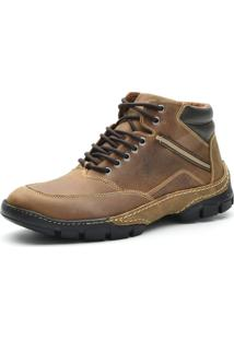 Bota Cano Curto Casual Over Boots Absolut Couro Caramelo