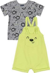 Conjunto Bebê Blusa E Jardineira Amarelo