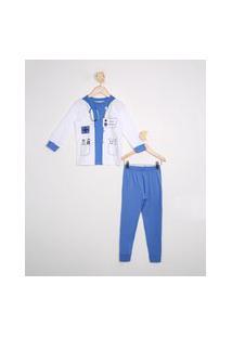 Pijama Infantil Profissões Médico Manga Longa Off White