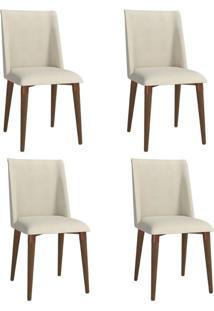 Conjunto Com 4 Cadeiras De Jantar Thyra Bege