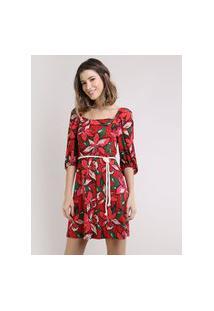 Vestido Feminino Curto Estampado Floral Com Cordão Manga Bufante Vermelho