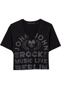 Camiseta John John Music Live Feminina (Preto, G)