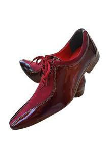Sapato Masculino Italiano Oxford Em Couro Art Sapatos Vermelho Escuro