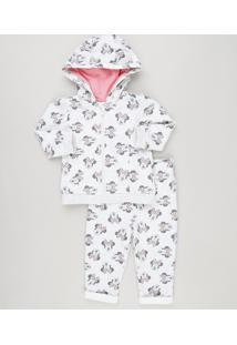 fa30e49c88 Conjunto Infantil Estampado Da Minnie De Blusão Com Capuz E Zíper + Calça  Em Moletom Cinza
