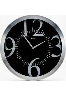 Relógio De Parede Em Alumínio Redondo Prime 35,5Cm Alumínio E Preto
