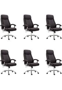 Conjunto Com 6 Cadeiras De Escritório Presidente Canaman Preto