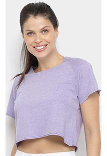 Camiseta Cropped Volcom Solid Stone Feminina - Feminino-Lilás