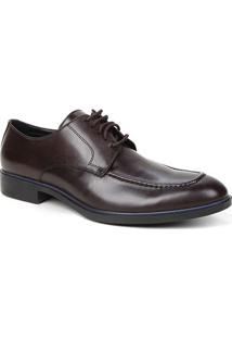 Sapato Social Couro Shoestock Clássico Cadarço Masculino - Masculino-Café