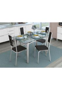 Conjunto De Mesa Com 4 Cadeiras Diana Cromado E Preto