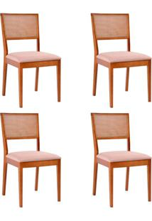 Conjunto Com 4 Cadeiras Kindon Ii Tela Castanho E Bege