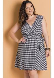 Vestido Xadrez Vichy Plus Size Transpassado