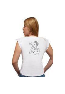 Camiseta Casual 100% Algodão Estampa Frida Avalon Cf01 Branca