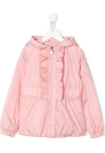 Moncler Kids Hooded Ruffle Trimmed Jacket - Rosa