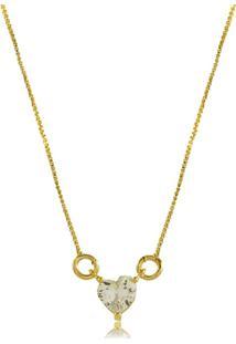 Colar 3Rs Semijoias Coraçáo Pequeno Em Zircônia Folheado A Ouro 18K Dourado - Tricae