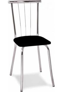 Cadeira Cromada Ávila Preta