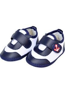 Sapato Moderno Sapatinhos Baby Azul-Marinho E Branca