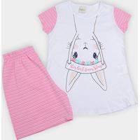 Pijama Infantil Kiko   Kika Coelho Listrado Feminino - Feminino-Rosa ec56c547cc9