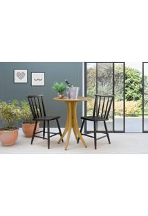 Mesa Redonda Com 2 Cadeiras Juliette - Amêndoa E Preto