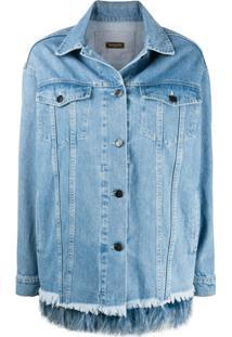 Simonetta Ravizza Jaqueta Jeans Com Acabamento De Plumas - Azul