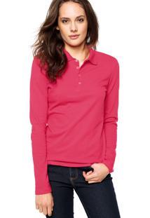 Camisa Polo Manga Longa Malwee Confort Rosa bc3d7e32dca15