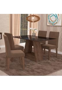 Conjunto De Mesa Para Sala De Jantar C/ Vidro Temperado E 4 Cadeiras Alana/Milena - Cimol - Marrocos / Preto / Chocolate