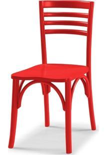 Cadeira Samara Em Madeira Maciça - Laca Vermelho