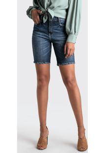Bermuda Jeans Ciclista Com Leve Efeito Estonado