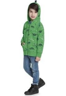 Jaqueta Infantil Moletom Dinossauro - Fakini - Masculino-Verde
