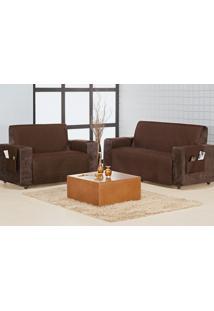 Protetor Sofa Home 3 E 2 Lugares Tabaco Enxovais Aquarela
