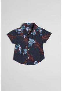 Camisa Bebê Reserva Mini Mc Lirios Masculina - Masculino-Marinho