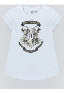 Blusa Juvenil Hogwarts Harry Potter Manga Curta Decote Redondo Cinza Mescla Claro