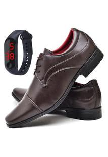 Sapato Social Fashion Com Relógio Led Fine Dubuy 832El Marrom