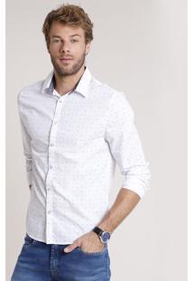 Camisa Masculina Tradicional Mini Estampa Geométrica Manga Longa Branca