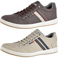 bfcc0d76a8e Kit Tênis Sapatenis Cr Shoes Com Elástico Leve Lançamento Café E Bege