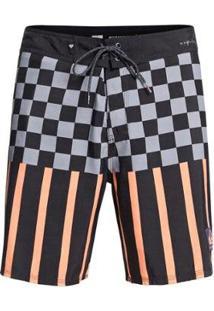 Qk Boardshort Check Magnet 18 Imp - Black - 44 - Masculino-Preto