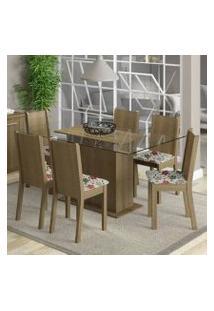 Conjunto Sala De Jantar Madesa Molly Mesa Tampo De Vidro Com 6 Cadeiras Rustic/Floral Hibiscos