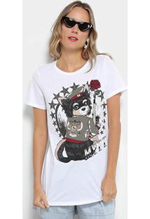 Camiseta My Favorite Thing (S) Alongada Estampada Feminina - Feminino-Branco