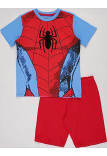 Pijama Infantil Carnaval Homem Aranha Manga Curta Azul