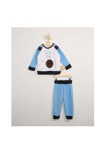 Pijama Infantil Em Fleece Manga Longa Urso Azul