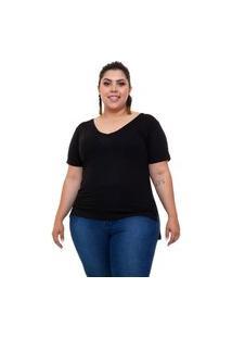 T-Shirt Justa Almaria Plus Size Mais Na Moda Decote V Preto