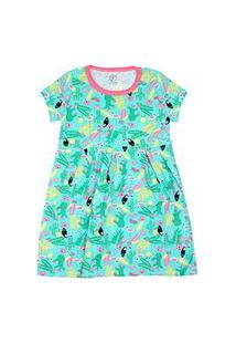 Vestido Infantil Manga Curta Cotton Verde Tucano (4/6/8) - Kappes - Tamanho 8 - Verde