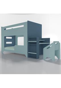 Conjunto Lumi - Beliche+Escrivaninha Azul Timber - Azul - Dafiti