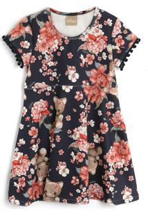 Vestido Milon Floral Preto/Rosa