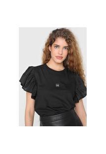 Camiseta Triton Babados Preta