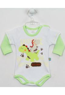 Body Nilly Baby Dinossauros - Masculino-Verde+Branco