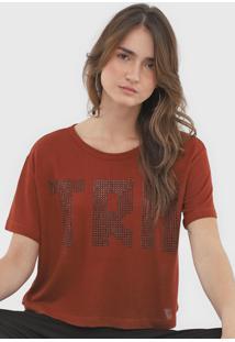 Camiseta Triton Tricot Aplicaã§Ãµes Laranja - Laranja - Feminino - Viscose - Dafiti