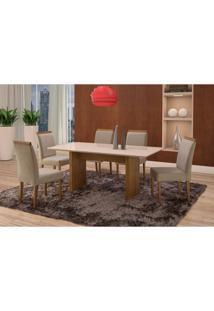 Conjunto De Mesa De Jantar Com 6 Cadeiras E Tampo De Madeira Maciça Milão Reta Ii Suede Cinza E Off White