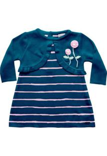 Vestido Infantil - Bolero Falso Listrado - Malha - Azul Marinho - Noruega - G