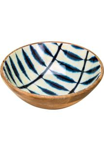 Saladeira Bambu Branca E Azul